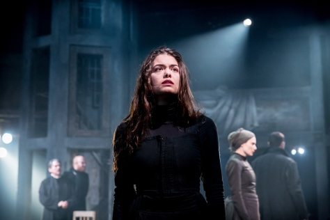 Samantha Colley showed an excellent stage performance as her debut to the big stage as Abigail Williams; picture courtesy of Jo Allan PR / The Old Vic Theatre (photographer: Johan Persson)